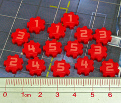 Identification Tokens #1-5, Red  (Set of 15) - Top Shelf Gamer - 1