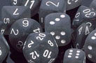 Frosted Smoke/White Dice 16mm d6 (set of 12) - Top Shelf Gamer