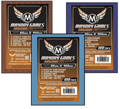 Mayday Brown Backed Card Sleeves: 65 x 100mm (set of 100) - Top Shelf Gamer
