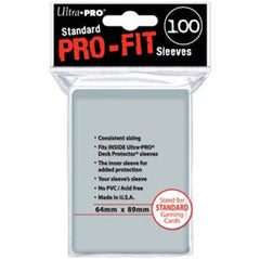 Ultra-Pro Pro-Fit Standard Size Sleeves: 64 x 89mm (set of 100) - Top Shelf Gamer