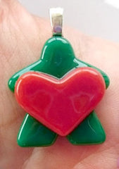 Glass Necklace Charm - Heart Holding Green Meeple