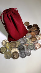 Dwarven Coin Set in a Burgundy Bag (set of 50) - Top Shelf Gamer