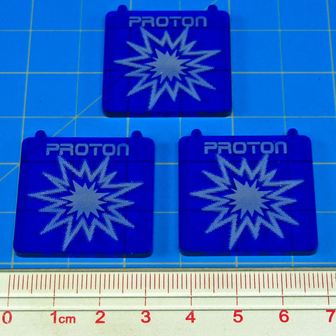 Space Fighter, Proton Bomb Templates, Translucent Blue (set of 3)