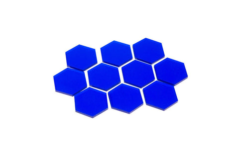 Transparent Blue 34mm Hex Tiles (set of 10)