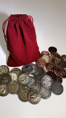 Magic Coin Set in a Burgundy Bag (set of 50) - Top Shelf Gamer