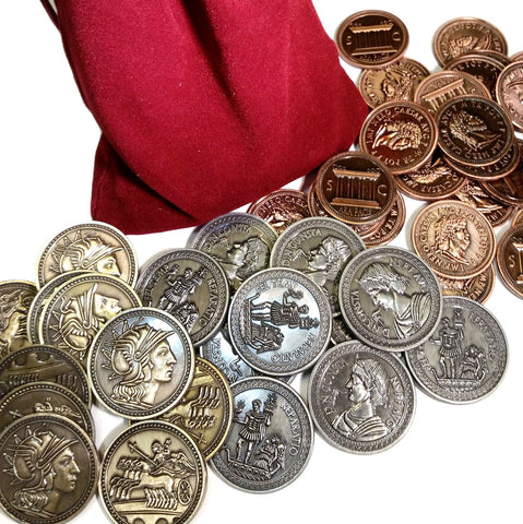 Roman Coin Set with Burgundy Bag (set of 50)