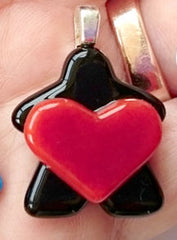 Glass Necklace Charm - Heart Holding Black Meeple