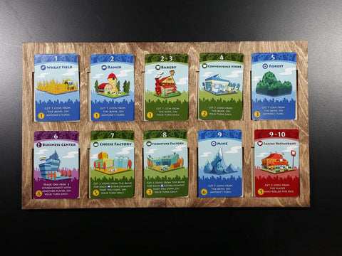 Machi Koro 10 spot Establishment Supply Board for use with the Harbor and Millionaire's Row Expansions