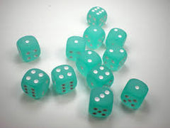 Frosted Teal/White Dice 16mm d6 (set of 12) [clearance] - Top Shelf Gamer