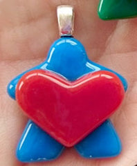 Glass Necklace Charm - Heart Holding Blue Meeple