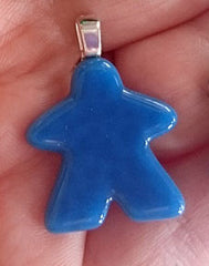 Glass Necklace Charm -  Blue Meeple