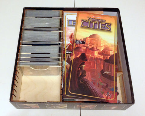 7 Wonders board game, wood insert to store all components