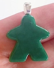 Glass Necklace Charm -  Jade Meeple