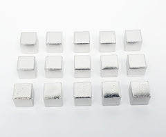 Silver Metal Cubes 9.5mm (set of 15)