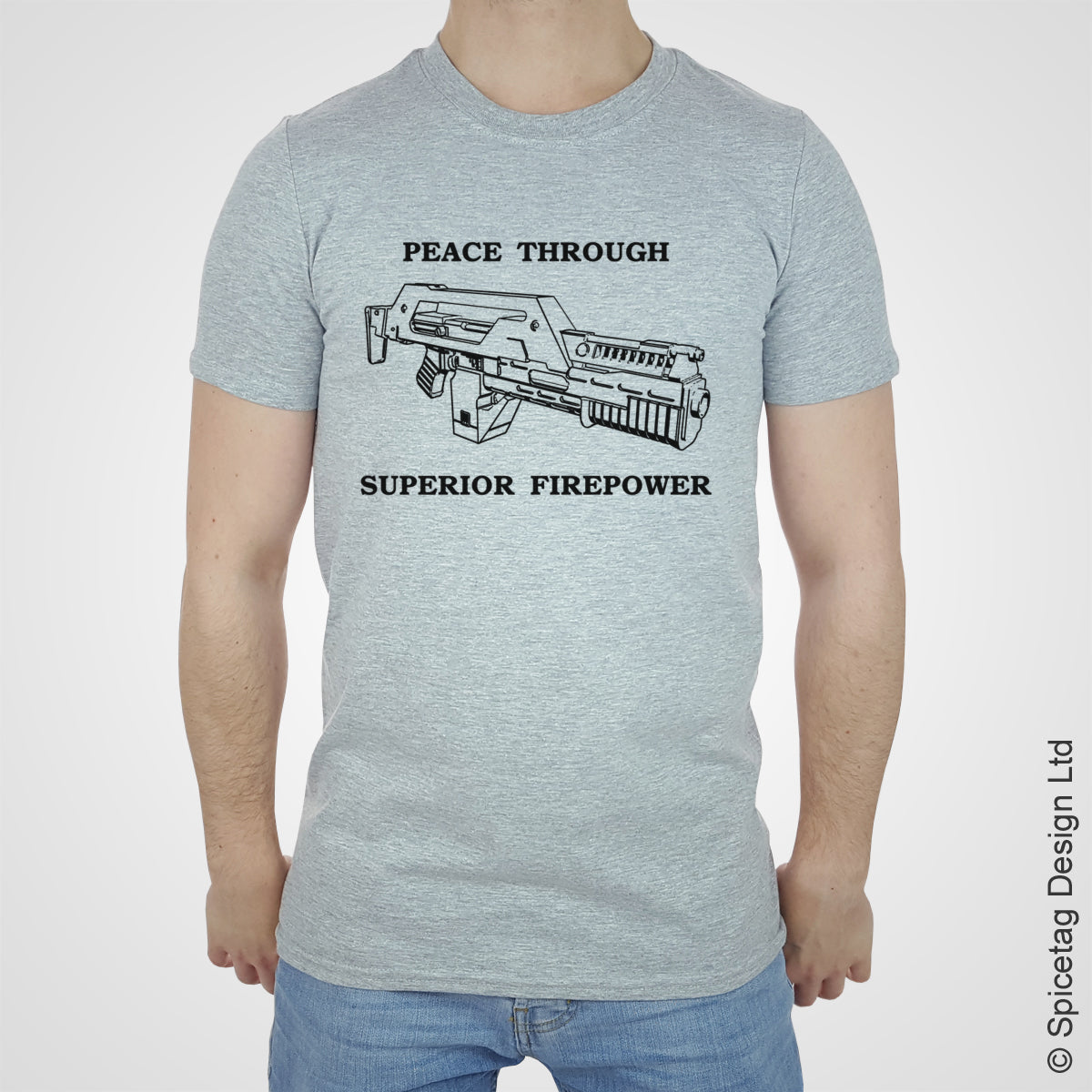 Aliens alien 1986 peace through superior firepower T-shirt T shirt Tshirt Tee spicetag