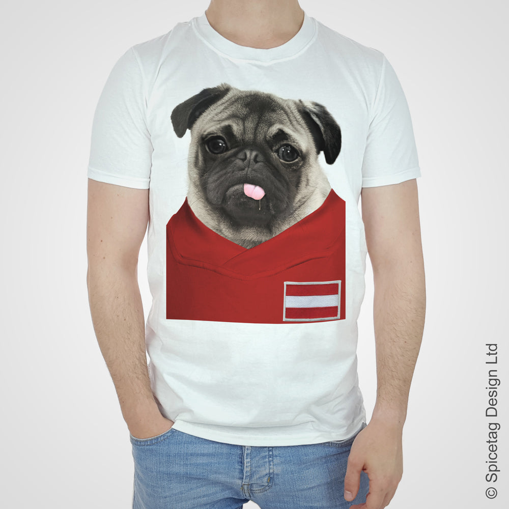 Austria Football Pug T-shirt