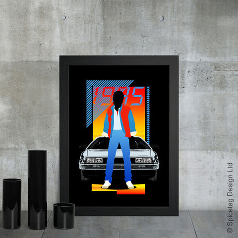 Back to the future bttf delorean time machine 80s 1985 car marty doc film movie poster art print frame picture photo
