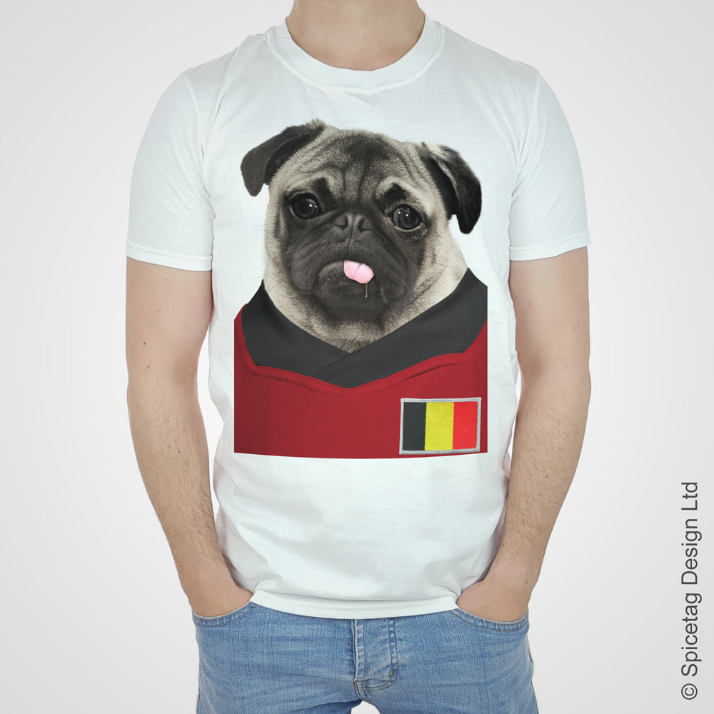 Belgium Football Pug T-shirt