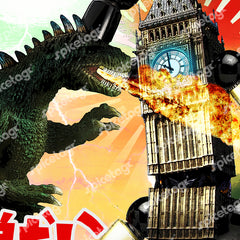 Big Ben london city atomic robot godzilla monster japan japanese vintage film movie poster art print frame picture photo