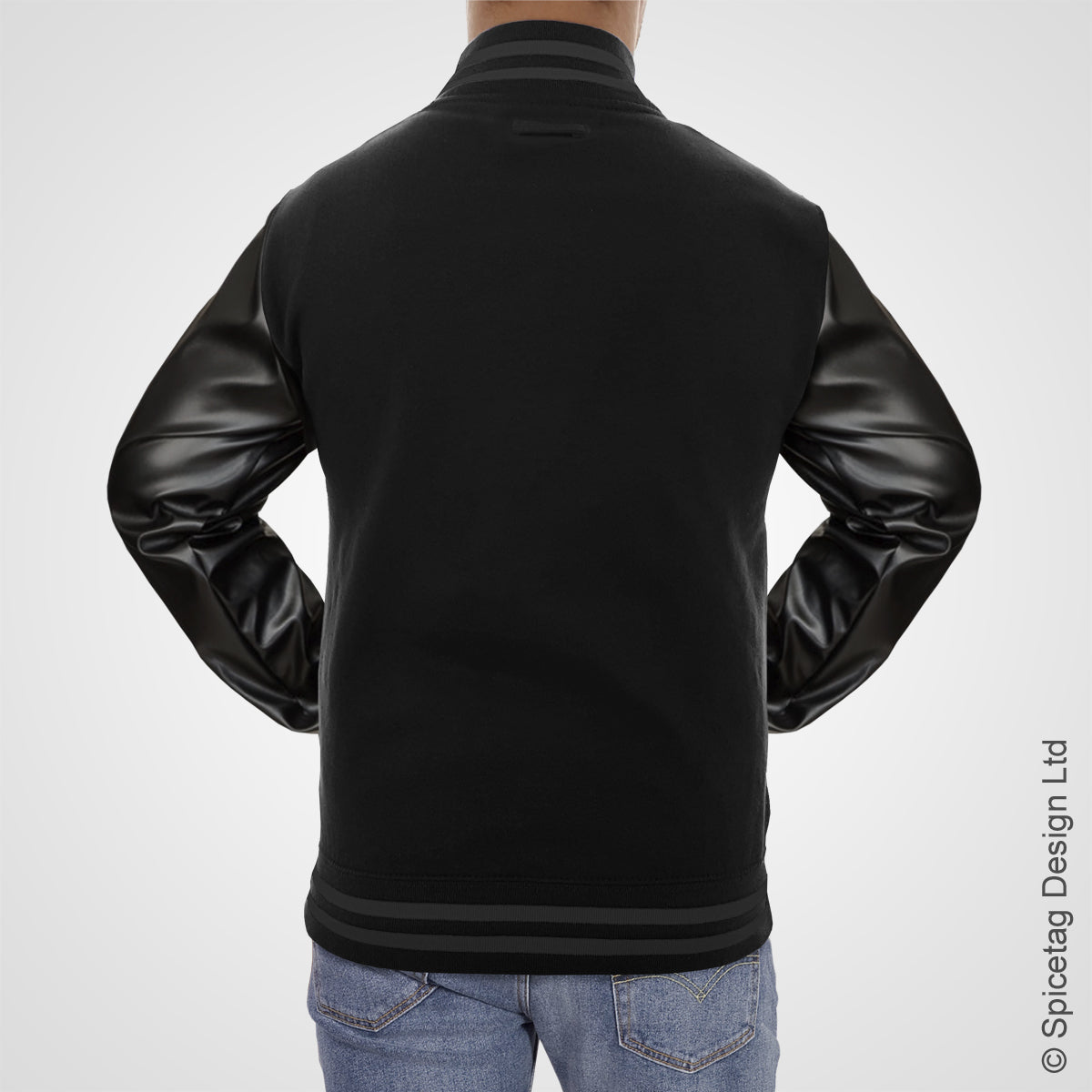 Black Varsity Jacket Faux Leather Sleeves College Top USA Letterman Coat Baseball Clothing Spicetag