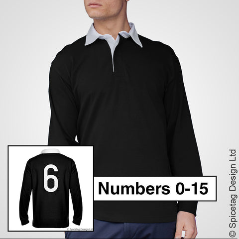 Retro Black Rugby Number Jersey