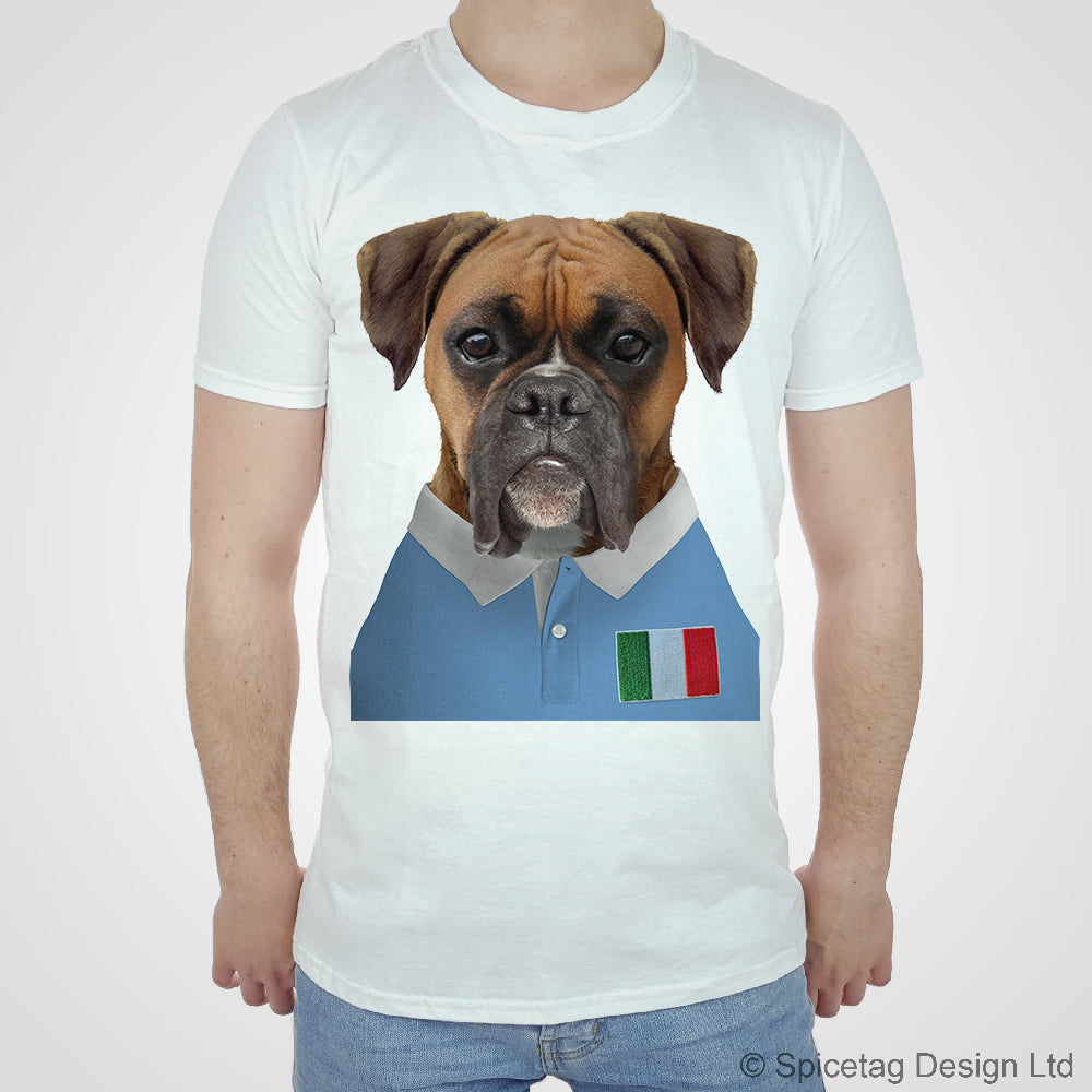 Italy Rugby Boxer Dog T Shirt Spicetag