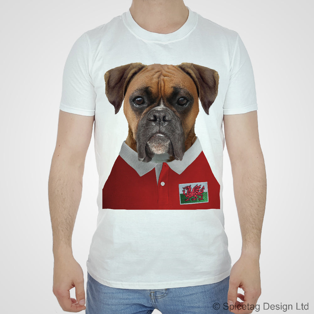 Wales Rugby Boxer Dog T-shirt