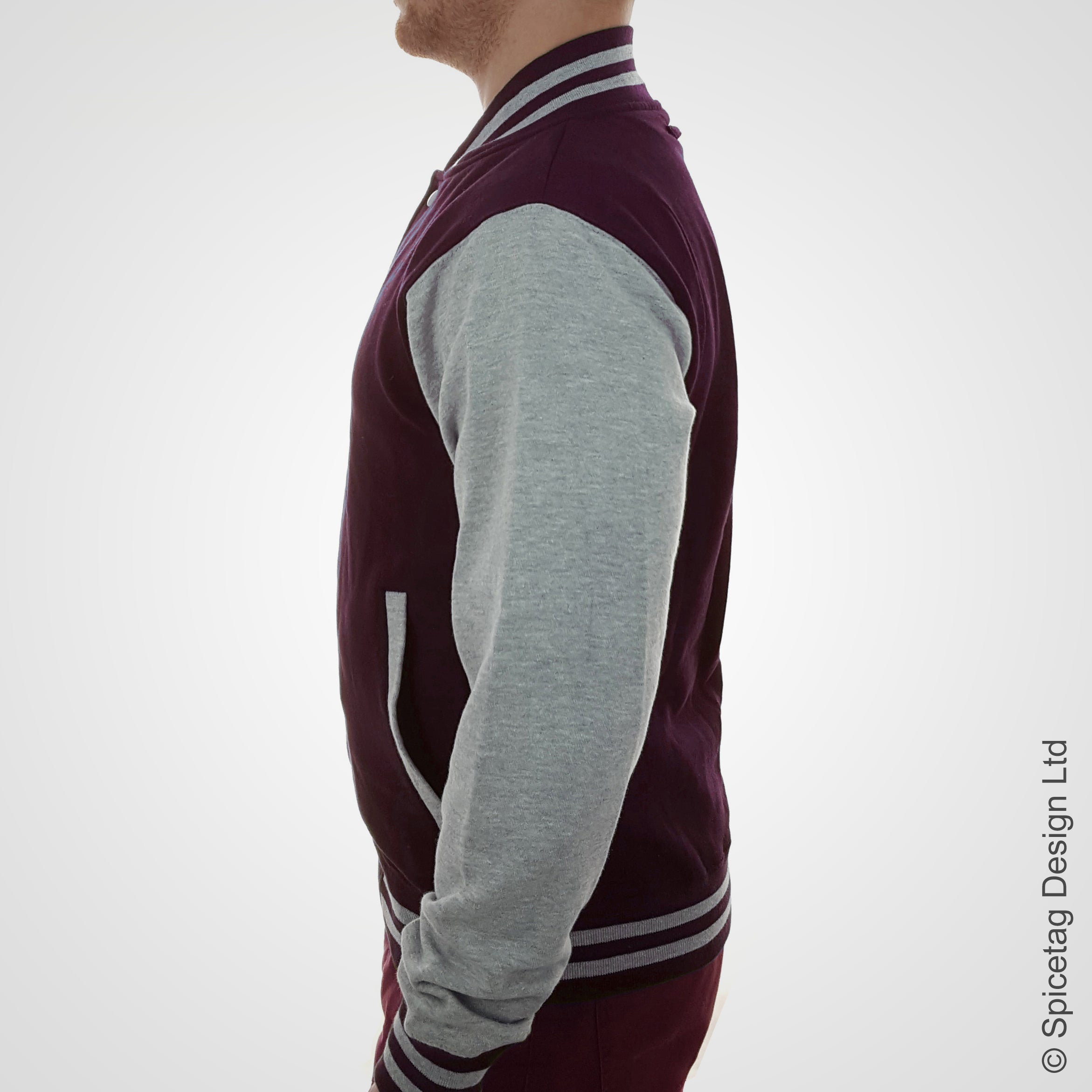 Burgundy & Heather Grey Varsity Jacket