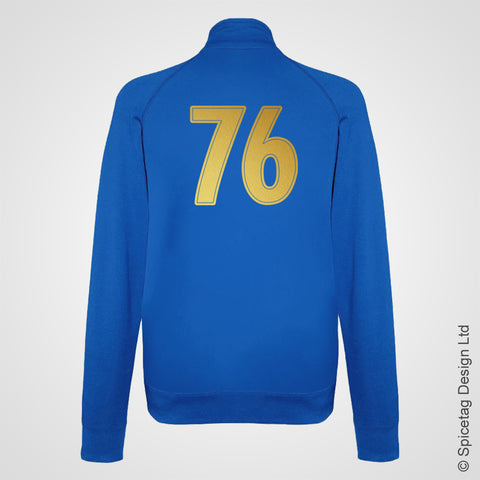 Gold Vault 76 Zip Top Celebrate Reclamation Day Sweat Jacket Video Game Gaming Fallout 76