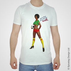 Cameroon pin up girl woman vintage football team soccer game T-shirt T shirt Tshirt Tee world cup retro stick man 70s 80s sport fashion style trend spicetag 1