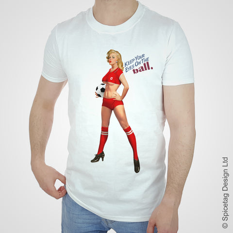 Canada canadian pin up girl woman vintage football team soccer game T-shirt T shirt Tshirt Tee world cup retro stick man 70s 80s sport fashion style trend spicetag 1