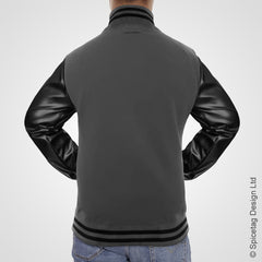 Charcoal Varsity Jacket Faux Leather Sleeves College Top USA Letterman Coat Baseball Clothing Spicetag