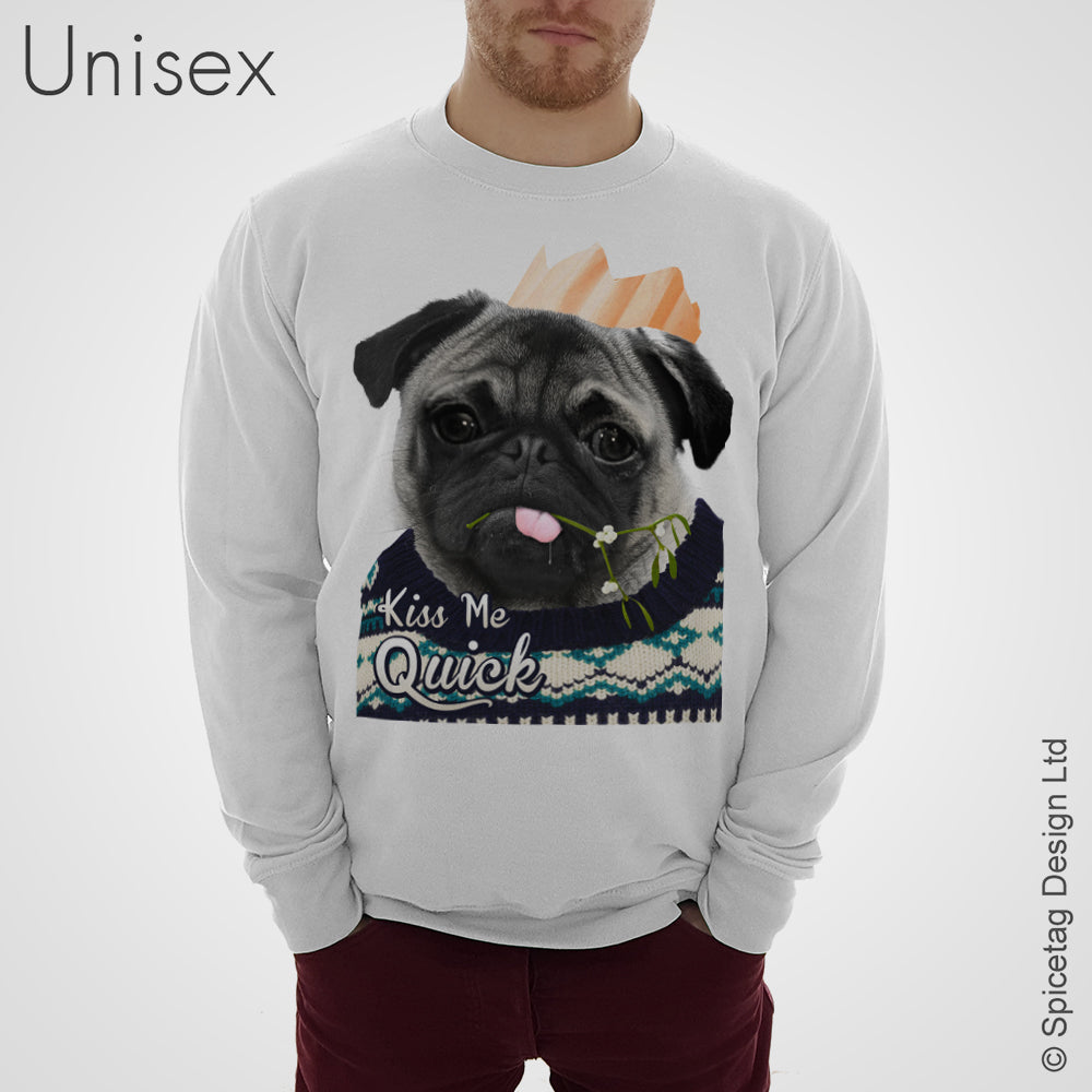 Kiss Me Quick Pug Sweater