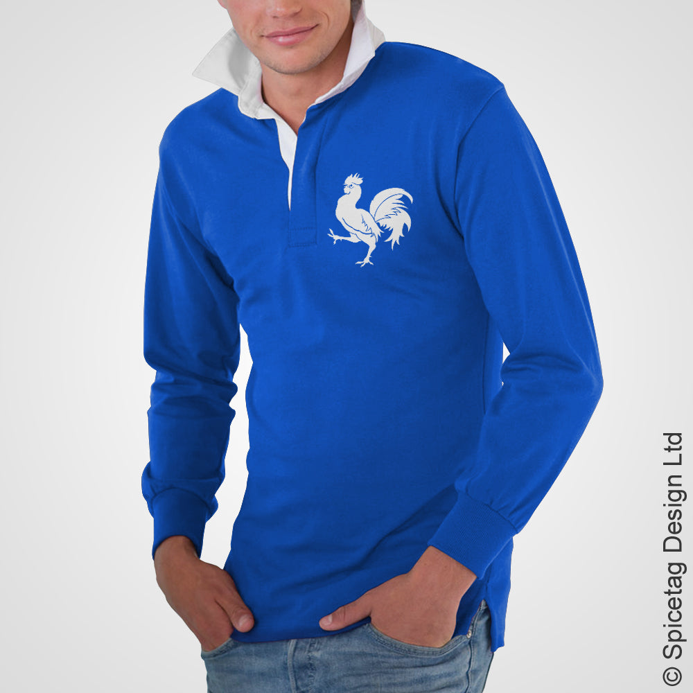 France French Royal Blue 6 six nations rugby sweater sweatshirt top kit jumper jersey retro 70s 80s spicetag 3a