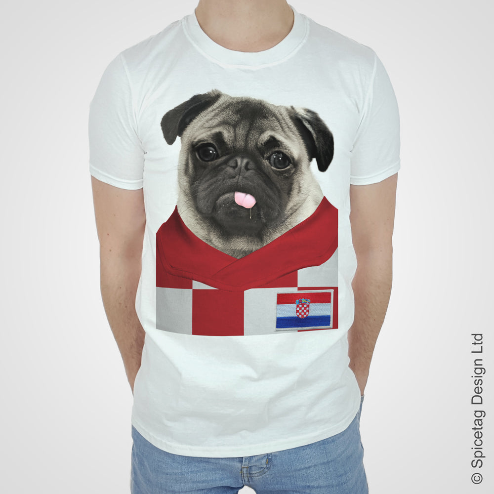 Croatia Football Pug T-shirt