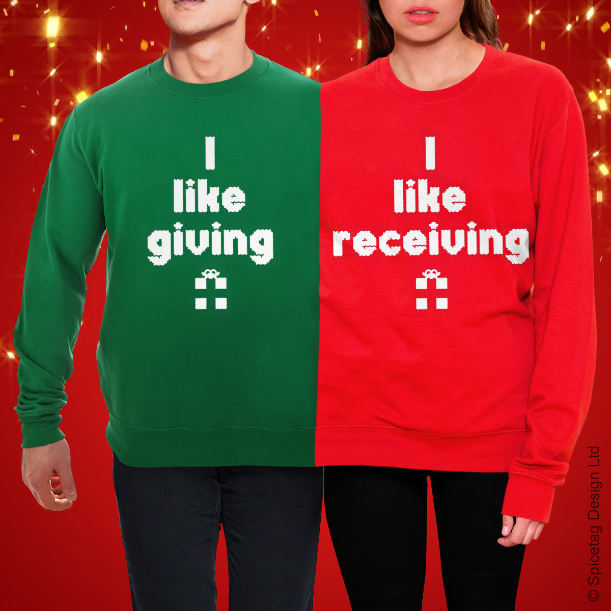 Giving Receiving Double Christmas Jumper