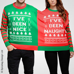 Double christmas crimbo xmas festive twin naughty nice jumper sweater sweatshirt pullover knitted santa rudolph present