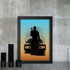 Mad max the road warrior mel gibson australian ford falcon v8 interceptor juice film movie poster art print frame picture photo