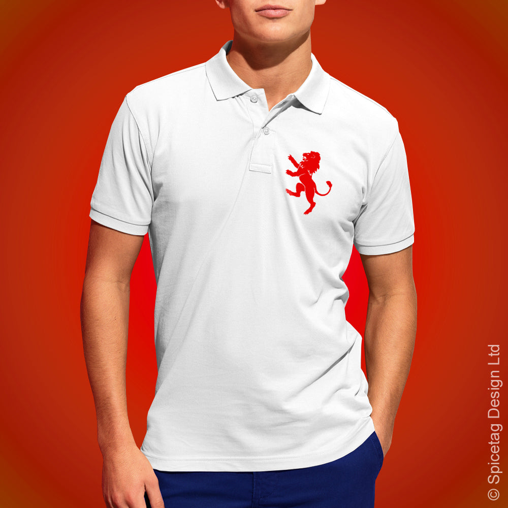 England Lion Polo Shirt White Football Tshirt Soccer Rugby Top English