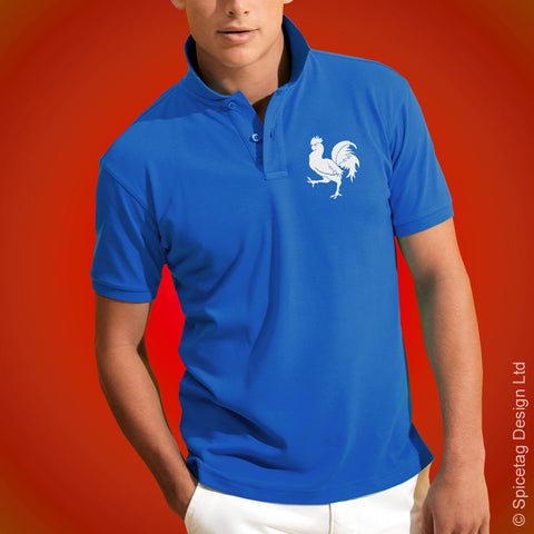 France Cockerel Polo Shirt Blue Football Tshirt Soccer Rugby Top French Spicetag
