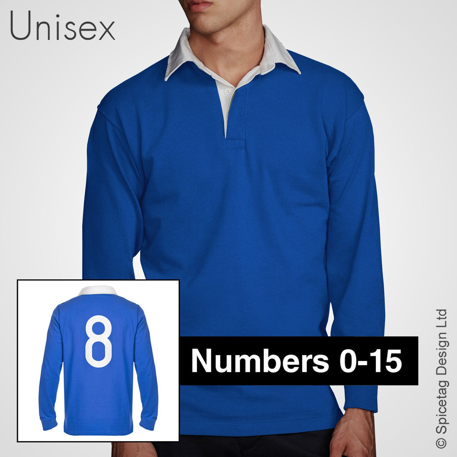 Retro Royal Blue Rugby Number Jersey