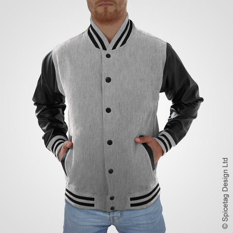 Heather Grey Varsity Jacket Faux Leather Sleeves College Top USA Letterman Coat Baseball Clothing