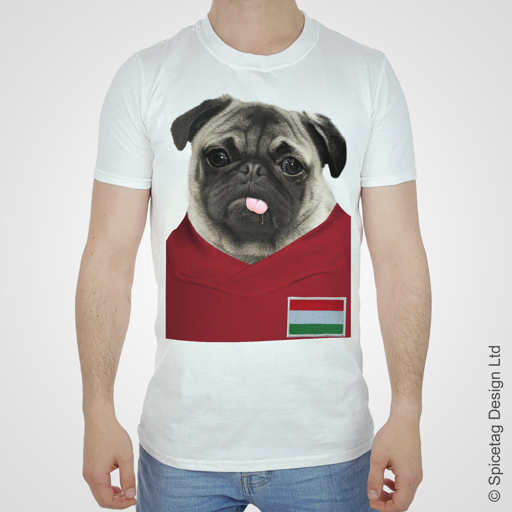 Hungary Football Pug T-shirt