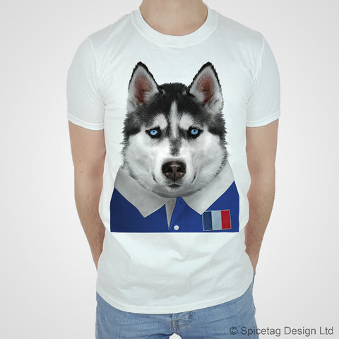 France Rugby Husky Dog T-shirt