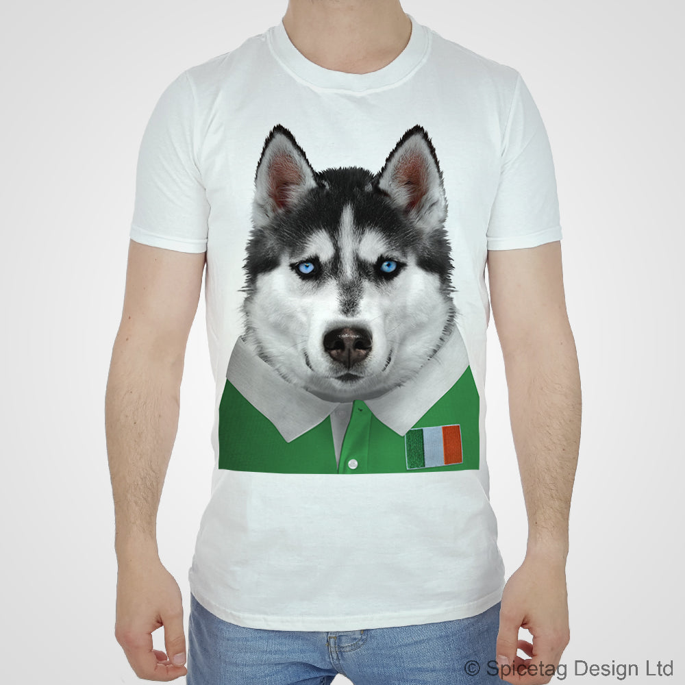 Ireland Rugby Husky Dog T-shirt