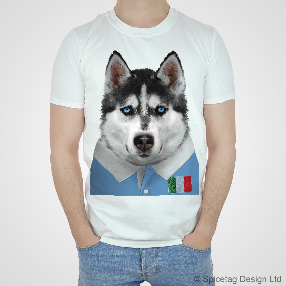 Italy Rugby Husky Dog T-shirt