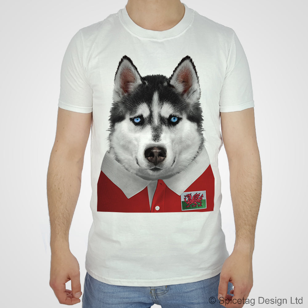 Wales Rugby Husky Dog T-shirt