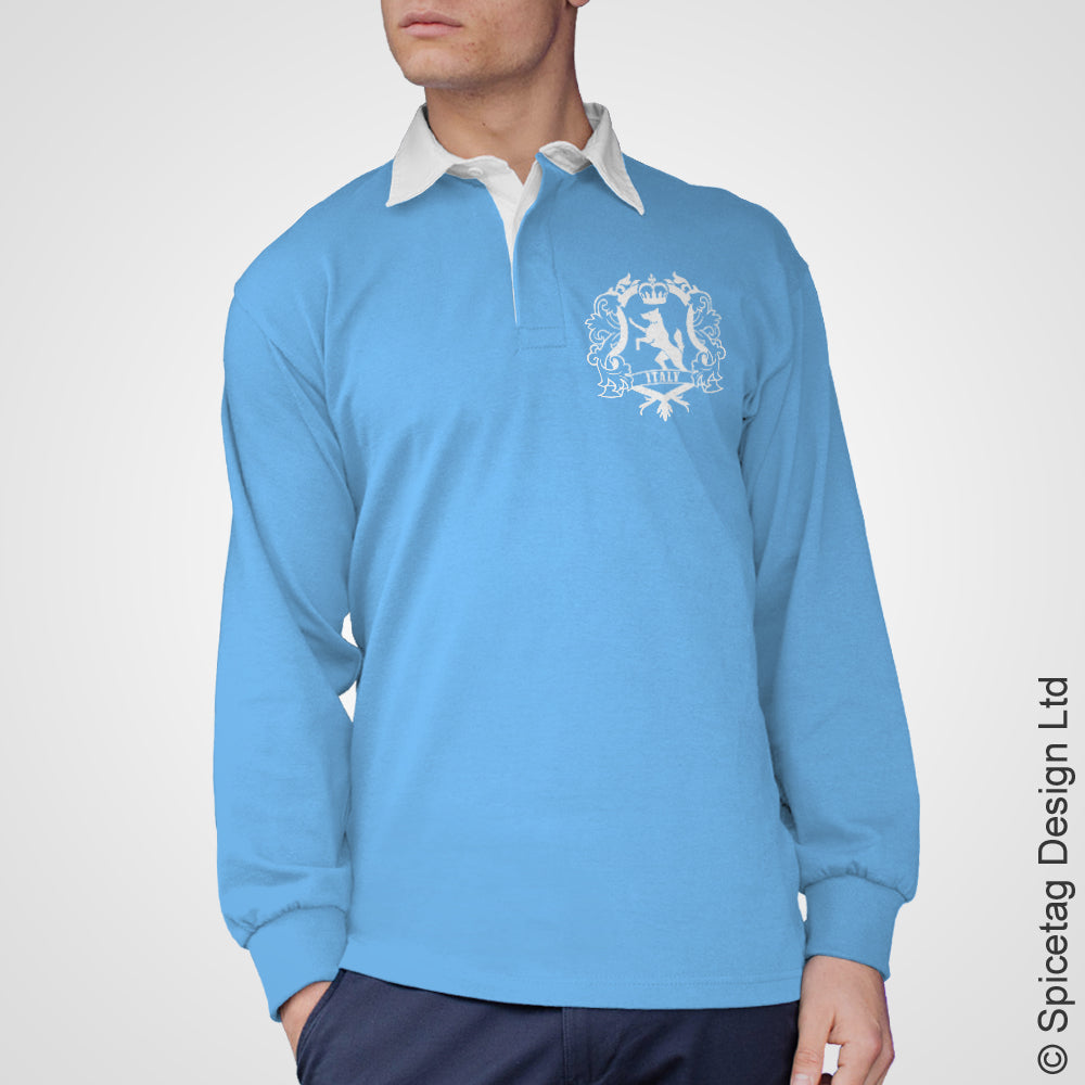Italy Crest Italian Sky Blue 6 six nations rugby sweater sweatshirt top kit jumper jersey retro 70s 80s spicetag X1
