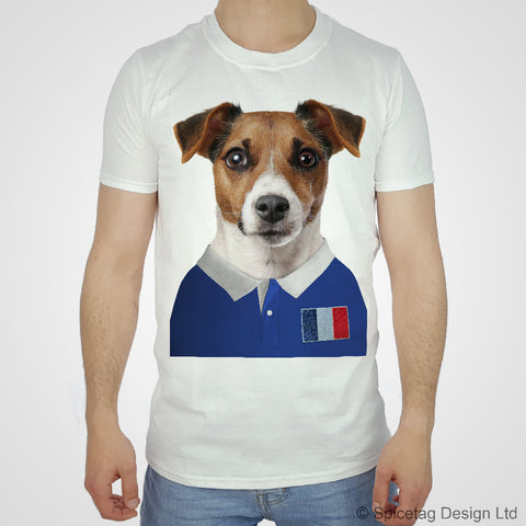 France Rugby Jack Russell Dog T-shirt