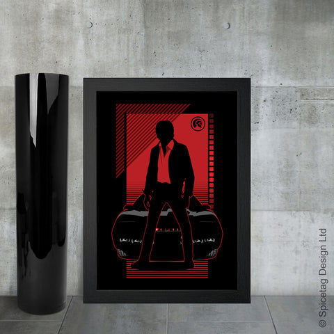 Knight Rider Michael David Hasselhoff 80s 1980s TV poster art print frame picture photo spicetag